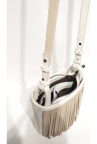 Moor Original Design Beyaz Kadın Püsküllü Zincirli Omuz Çantası