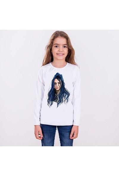TakeTshirt Billie Eilish Çocuk Tişört Uzun Kollu Beyaz Unisex