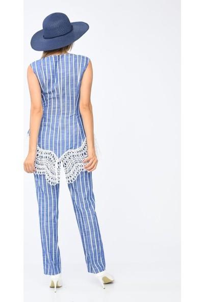 Modkofoni Çizgili Sıfır Kol Dantel ve Broş Detaylı Mavi Elbise