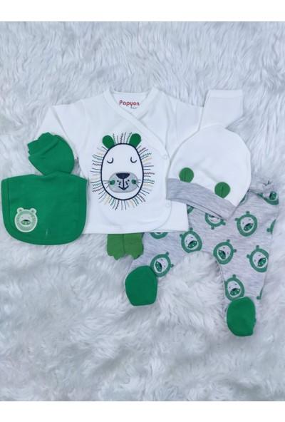 Papyon Baby Kids Minizeyn Aslan Figürlü Erkek Bebek 5li Zıbın Hastane Çıkış Set