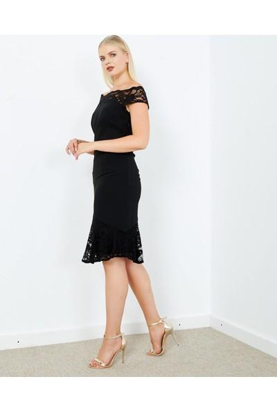Adze Kadın Siyah Omuz Kol Etek Dantel Detaylı Fermuarlı Elbise