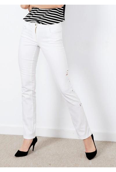 Adze Kadın Beyaz Yan Detaylı Jean Pantalon