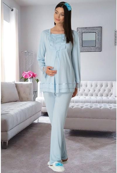 By Mecit Pijama Mavi 1506 Hamile Lohusa Pijama Takımı