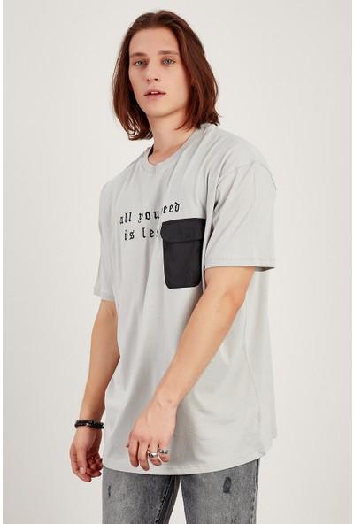 Manche Gri Paraşüt Cepli Oversize T Shirt Me21W214988