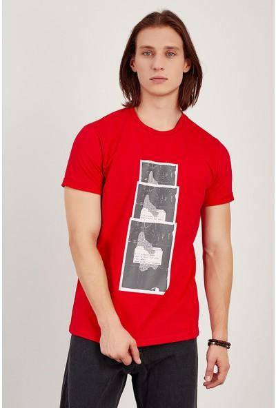 Manche Kırmızı Baskılı Duple T-Shirt Me21W214964