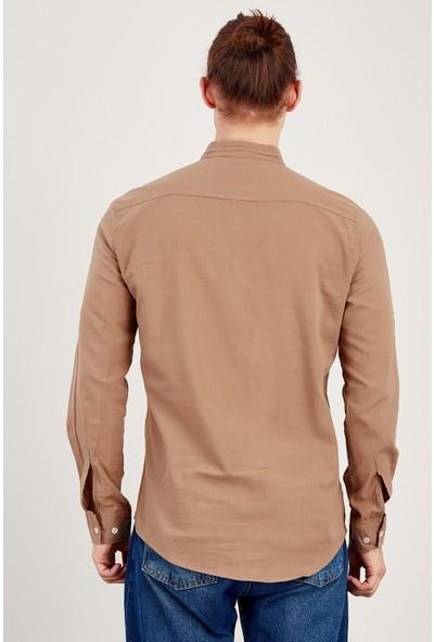 MNC Kahve Erkek Keten Yarım Patlı Gömlek Me19S112146