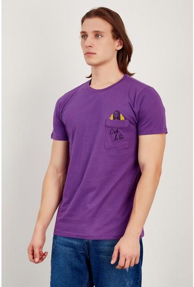 MNC Mor Erkek Cep Baski Ve Nakişli T-Shirt Me20S214722
