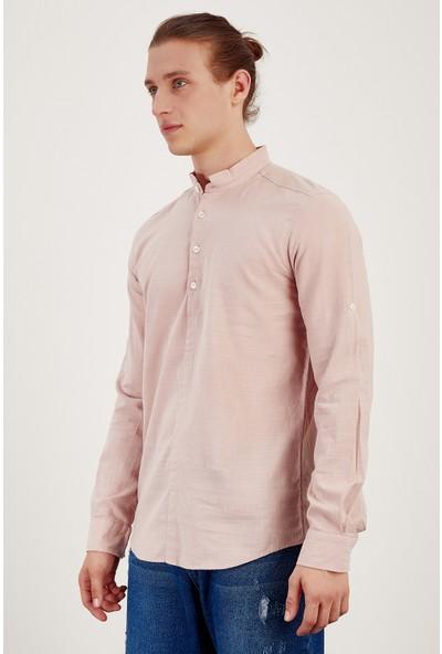 MNC Pudra Erkek Keten Yarım Patlı Gömlek Me19S112146