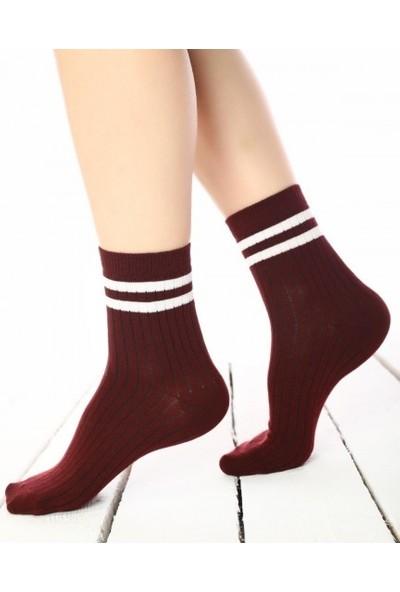 3dcini Çizgili Tenis Boy Çorap 2'li Paket