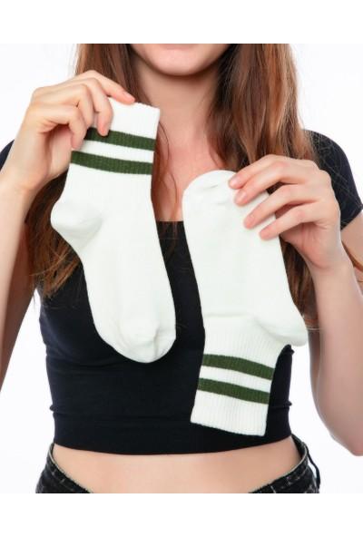 3dcini Yeşil Çizgili Tenis Çorabı