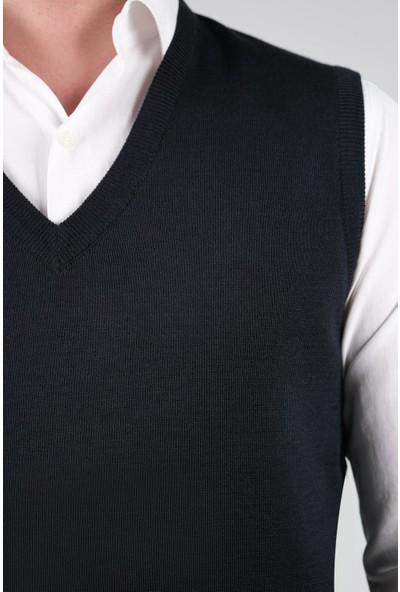 Çizgi Triko Erkek Triko Süveter V Yaka Düz Renk Kışlık Dokuma Çelik Örgü
