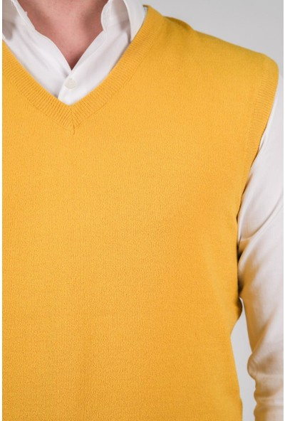 Çizgi Triko Erkek Triko Süveter V Yaka Düz Renk Bel Lastikli Kışlık Dokuma