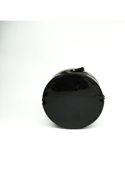 DSN Desan Dsn - Y4942 Simli Çizgili Rugan Yuvarlak Kadın Çapraz Çanta