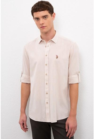 U.S. Polo Assn. Erkek Gri Gömlek Uzunkol Basic 50218991-VR049