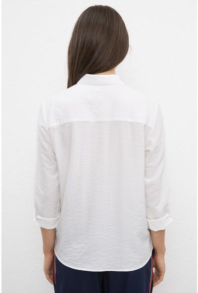 U.S. Polo Assn. Kadın Beyaz Gömlek Uzunkol 50218856-VR019