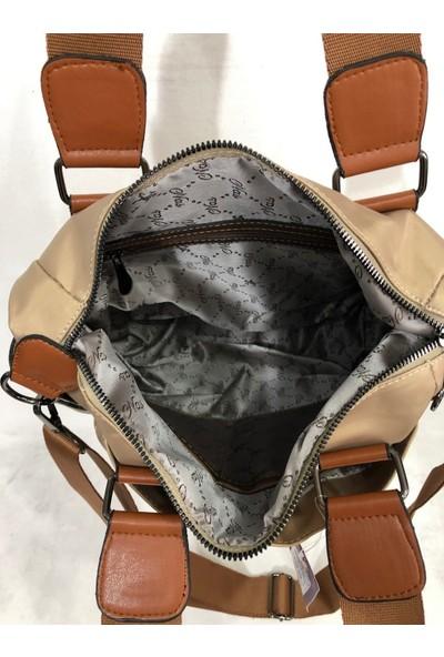 Nas Kadın El ve Çapraz Askılı Saten Kumaş Çanta Ebat 28Cm X 24Cm Vizon