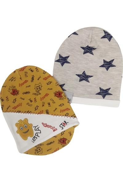 Kayra Baby Kasketli ve Yıldızlı Penye Bebek Şapka 2li Set