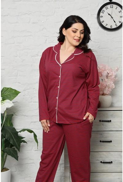 Akbeniz Kadın Pamuklu Cepli Uzun Kol Büyük Beden Pijama Takım 202042