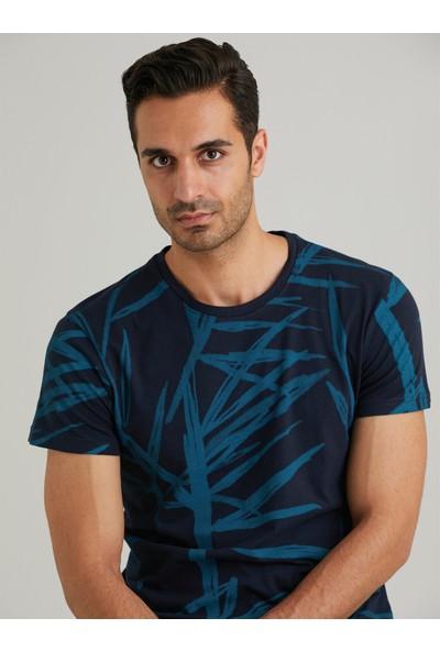Dufy Lacivert Baskılı Pamuklu Erkek T-Shirt Slim Fit