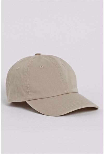 Külah Kadın Şapka Metal Kilitli Gabardin Kep - Bej