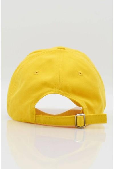 Külah Kadın Şapka Metal Kilitli Gabardin Kep - Sarı