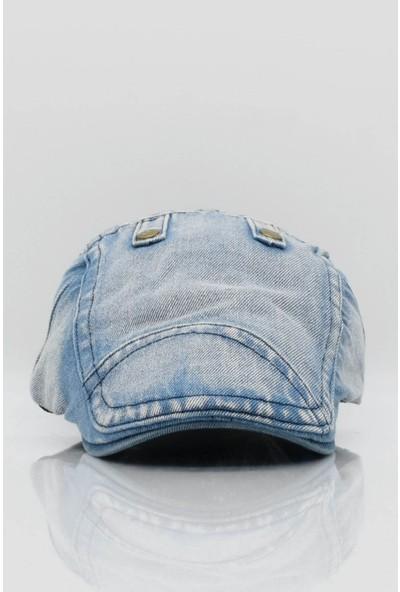 Külah Erkek Kot Kasket Şapka Denim Taşlanmış