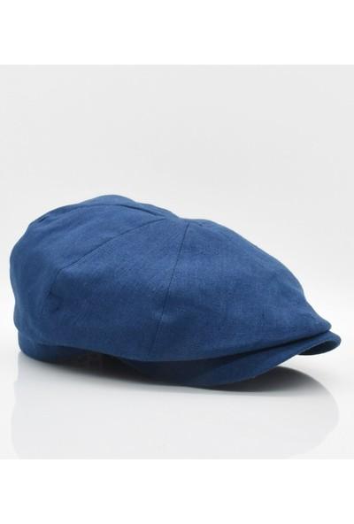 Külah Ingiliz Stili London Kasket Yazlık Şapka Lacivert