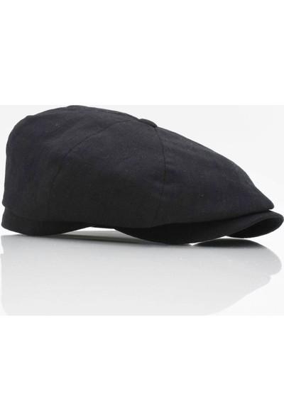 Külah Ingiliz Stili London Kasket Yazlık Şapka Siyah