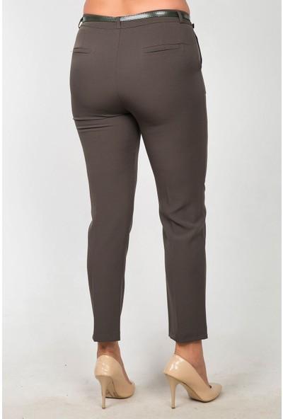 Womenice Kadın Kahverengi Yüksek Bel Klasik Kumaş Büyük Beden Pantolon