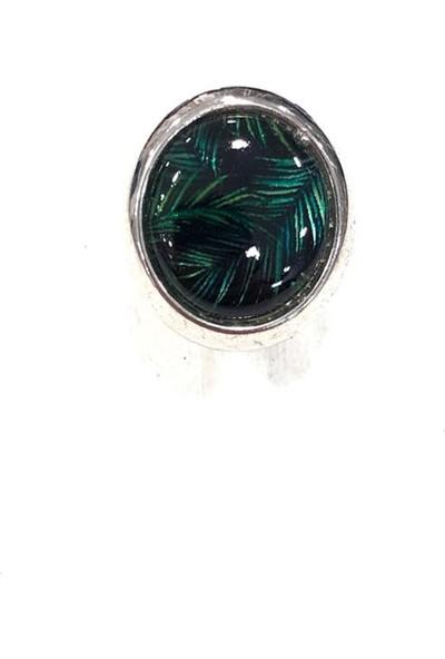 Final Düğme Yaprak Desenli Koyu Yeşil-Siyah Renkli Kol Düğmesi ve Kravat Iğne