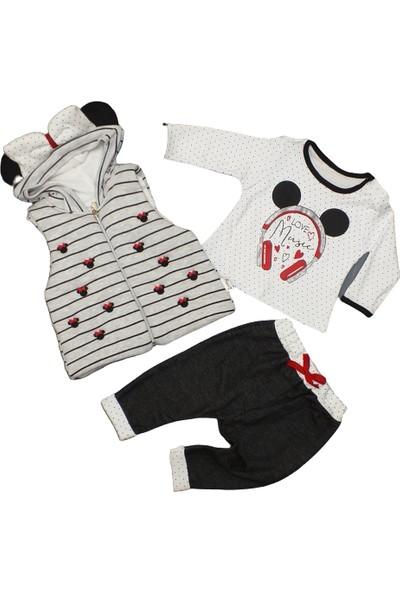 Hippil Kız Bebek Miki Desenli 3 Parçça Yelekli Takım