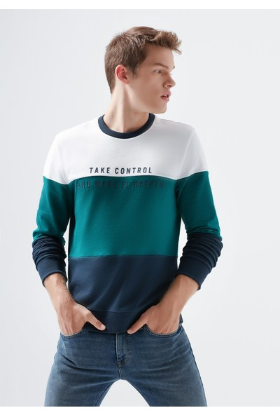 Mavi Erkek Baskılı Beyaz Sweatshirt 066365-620