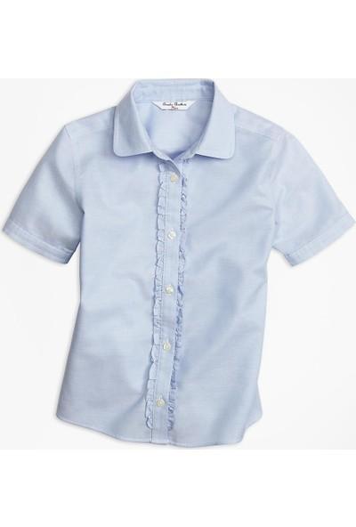 Brooks Brothers Kız Çocuk Açık Mavi Kısa Kollu Gömlek