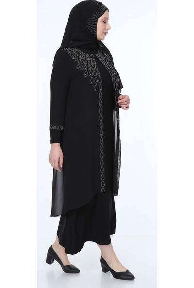 Perya Taş ve Boncuk İşlemeli Şifon Abiye Elbise Siyah Taş İşlemeli Siyah Şal 58