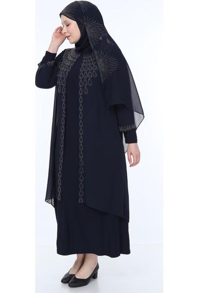 Perya Taş ve Boncuk İşlemeli Şifon Abiye Elbise Lacivert Taş İşlemeli Lacivert Şal 52