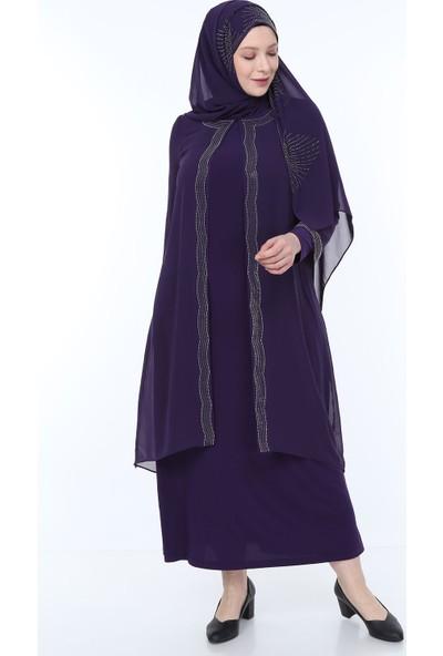 Perya Taş İşlemeli Şifon Abiye Elbise Mor Taş İşlemeli Mor Şal 56