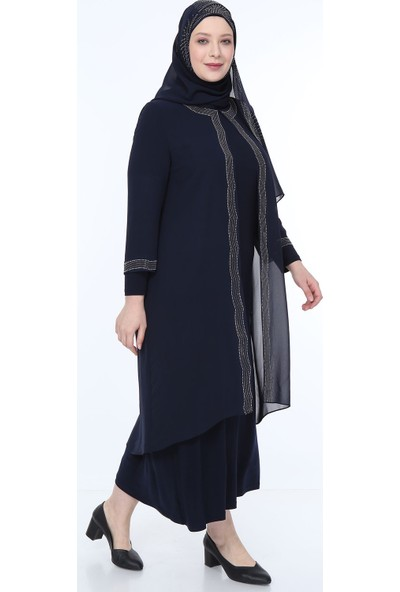 Perya Taş İşlemeli Şifon Abiye Elbise Lacivert Taş İşlemeli Lacivert Şal 46
