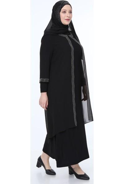 Perya Taş İşlemeli Şifon Abiye Elbise Siyah Taş İşlemeli Siyah Şal 56