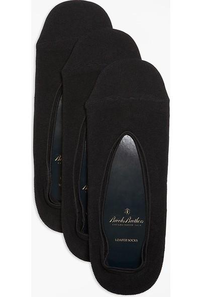 Brooks Brothers Erkek Siyah 3'Lü Makosen Ayakkabı Çorabı