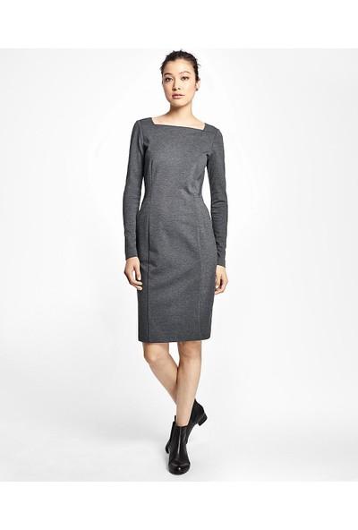 Brooks Brothers Kadın Gri Kare Yaka Dar Elbise