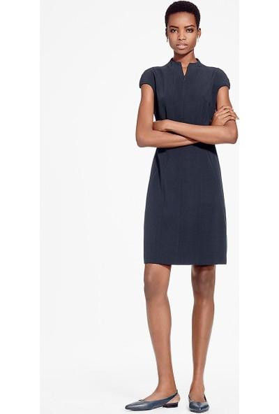 Brooks Brothers Kadın Lacivert Hakim Yaka Kısa Kollu Elbise