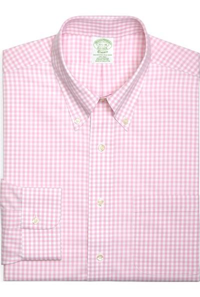 Brooks Brothers Erkek Açık Pembe Dğmeli Yaka Mılano Kalıp Non-Iron Gömlek