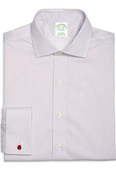 Brooks Brothers Erkek Kırmızı Non-Iron Yarım İtalyan Yaka Kol Düğmeli Klasik Gömlek