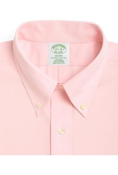 Brooks Brothers Erkek Pembe Non-İron Milano Kalıp Düğmeli Yaka Klasik Gömlek