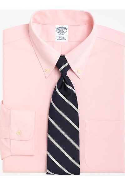 Brooks Brothers Erkek Pembe Non-İron Düğmeli Yaka Regent Kalıp Klasik Gömlek
