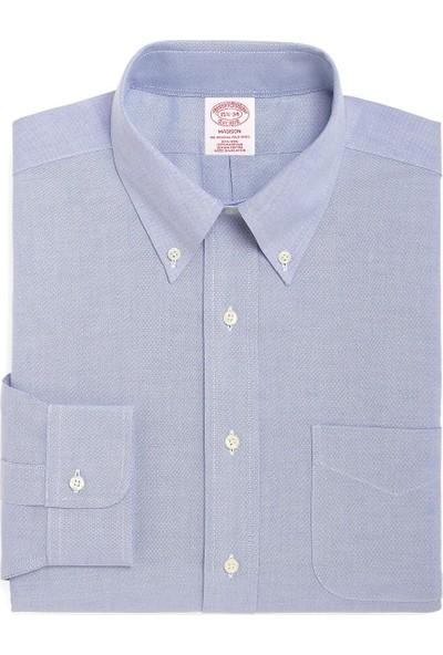 Brooks Brothers Erkek Mavi Non-İron Düğmeli Yaka Oxford Madison Kalıp Klasik Gömlek