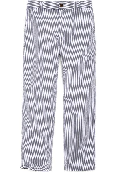 Brooks Brothers Erkek Çocuk Mavi Çizgili Gofre Pantolon