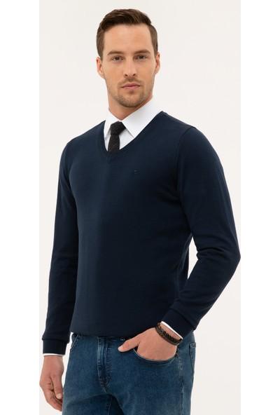 Pierre Cardin Erkek Lacivert Slim Fit V Yaka Basic Kazak 50230806-Vr033