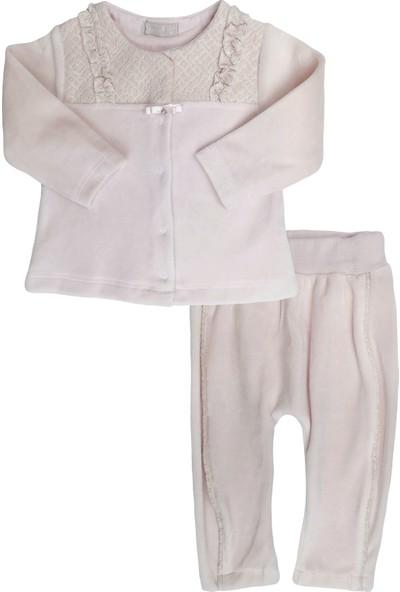 Bonne Şerit Detay Pantolonlu Kadife Kız Bebek Takım