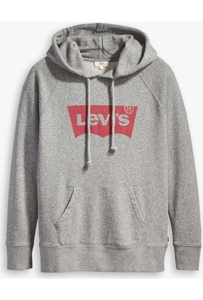 Levi's Logo Baskılı Kanguru Cepli Kapüşonlu Örme Kadın Sweat 35946